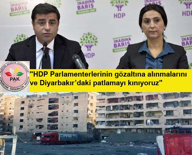 """PAK: """"Devlet Kürtleri tek yol olarak şiddete sürüklemek istiyor"""""""