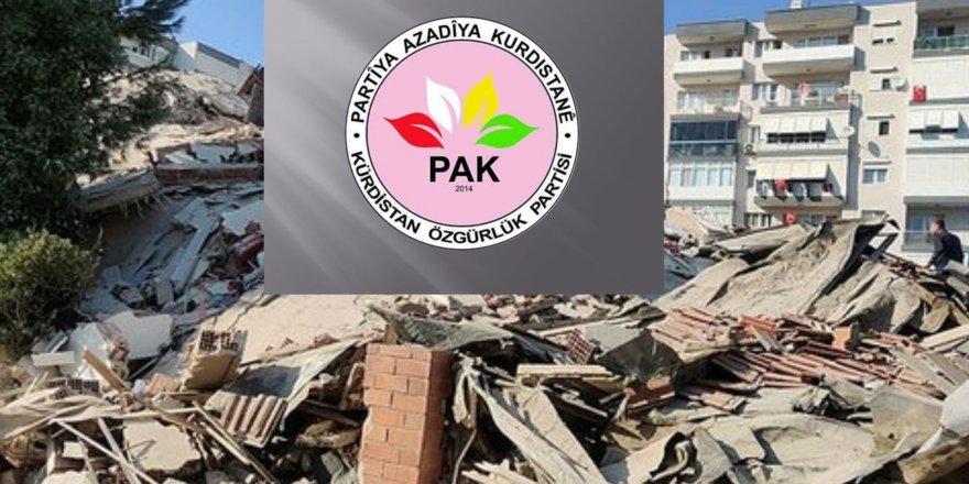 PAK: İzmir depreminde yaşamını yitirenlere Allahtan rahmet, yararlılara acil şifalar diliyoruz