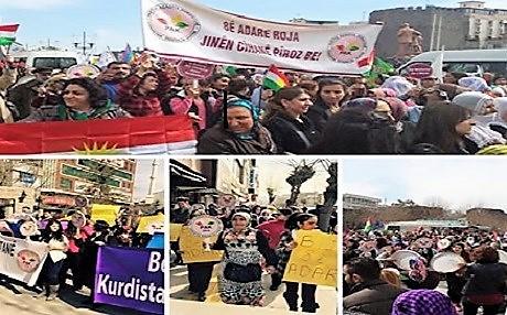''Yaşasın kadının özgürlüğü, Yaşasın Kürdistan'ın özgürlüğü''