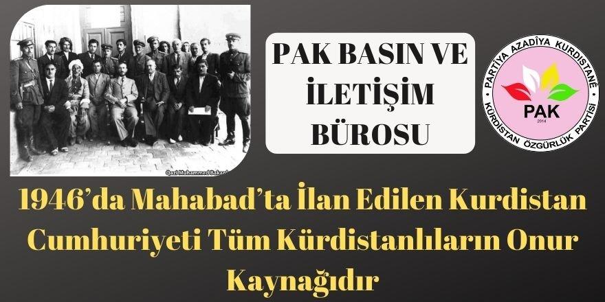 PAK Basın ve İletişim Bürosu: 1946'da Mahabad'ta İlan Edilen Kurdistan Cumhuriyeti Tüm Kürdistanlıların Onur Kaynağıdır