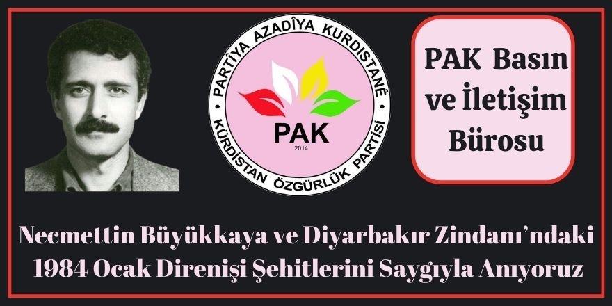 PAK: Necmettin Büyükkaya ve Diyarbakır Zindanı'ndaki 1984 Ocak Direnişi Şehitlerini Saygıyla Anıyoruz