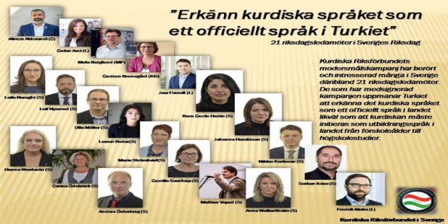 İsveçli 21 vekilden Türkiye'de Kürtçe'nin resmi ve eğitim dili olması için kampanya!
