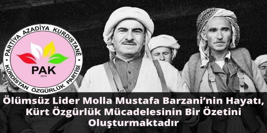 PAK: Ölümsüz Lider Molla Mustafa Barzani'nin Hayatı, Kürt Özgürlük Mücadelesinin Bir Özetini Oluşturmaktadır