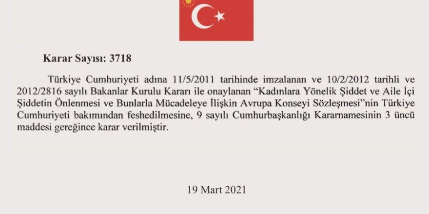 İstanbul Sözleşmesi kararı Resmi Gazete'de!