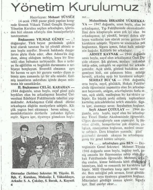 """''Siverek Yüksek Tahsil Gençlik Derneği -Istanbul 1968"""""""