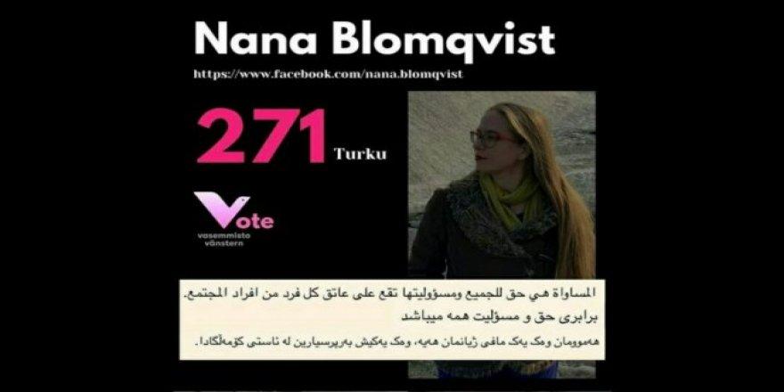 Finlandiyalı kadın adaydan Kürtçe kampanya
