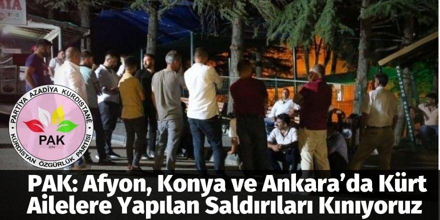 PAK: Afyon, Konya ve Ankara'da Kürt Ailelere Yapılan Saldırıları Kınıyoruz