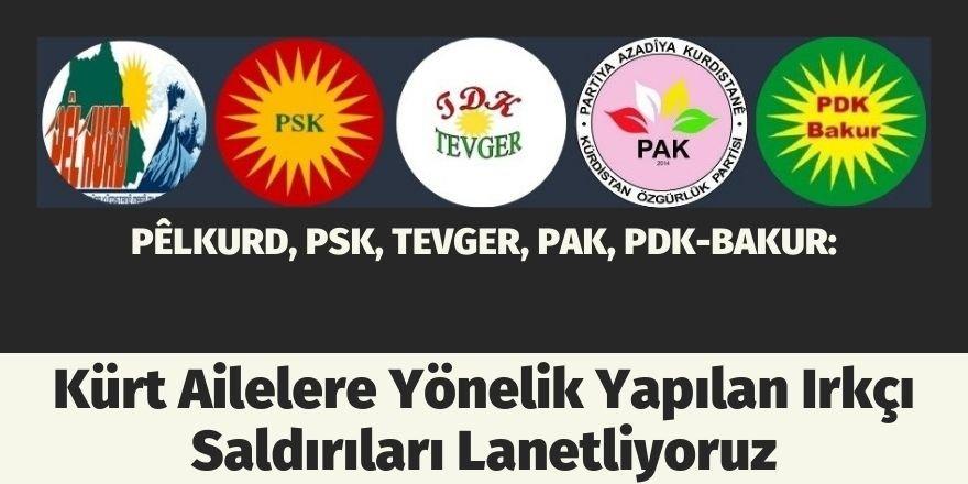 PÊLKURD, PSK, TEVGER, PAK, PDK-BAKUR: Kürt Ailelere Yönelik Yapılan Irkçı Saldırıları Lanetliyoruz