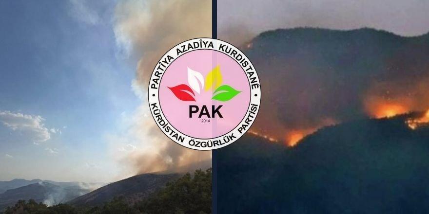 PAK: Türkiye Devleti Dersim ve Şırnak'ta  yanan ormanlara kimsenin müdahale etmesine izin vermiyor