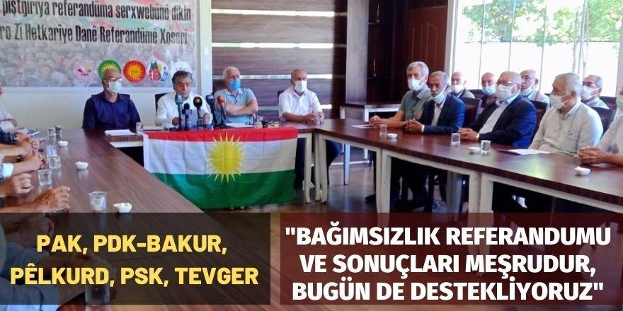PAK, PDK-BAKUR, PÊLKURD, PSK, TEVGER: Bağımsızlık Referandumu ve sonuçları meşrudur, bugün de destekliyoruz