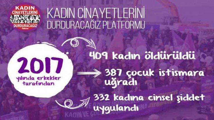 2017 yılında 409 kadın cinayeti işlendi