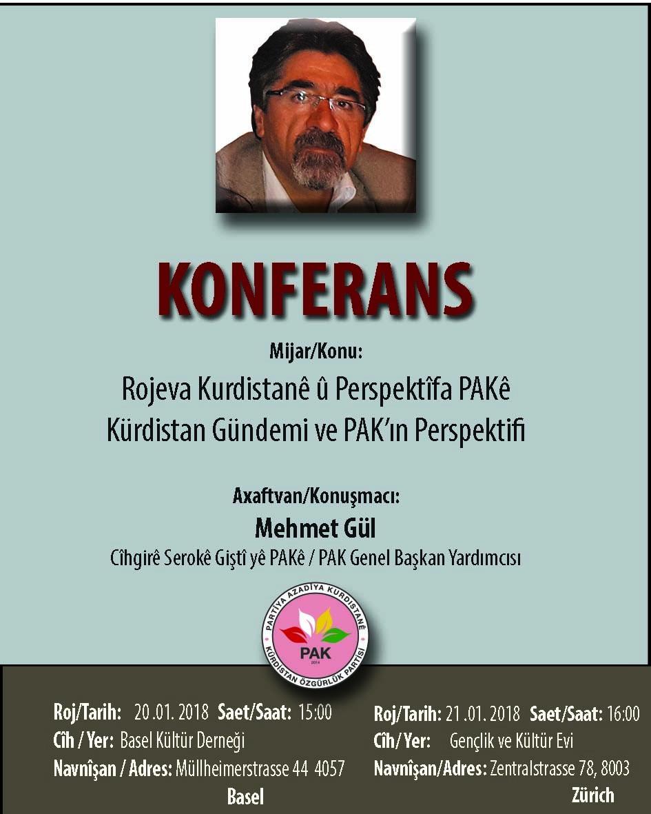 İsviçre'de Kürdistan gündemi konulu konferans