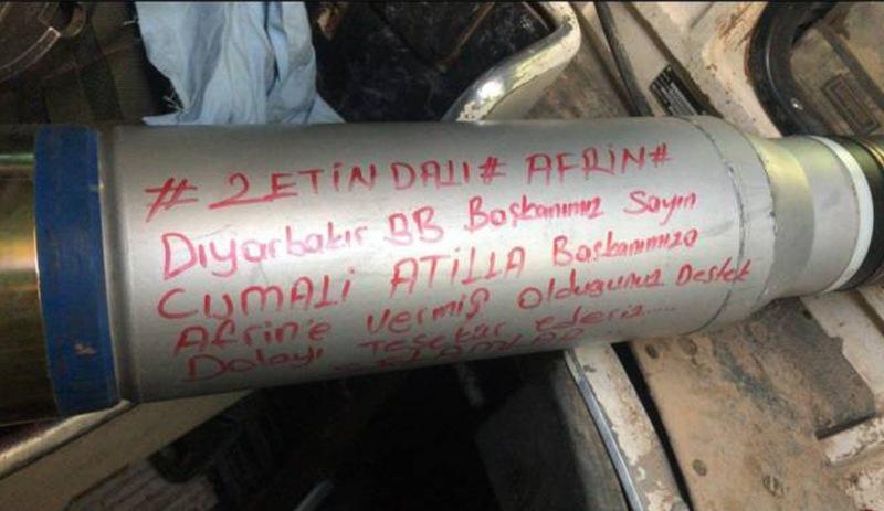 Diyarbakır kayyımının adı Afrin'e atılan havan mermisinde