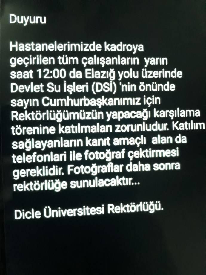 Dicle Üniversitesi: Erdoğan'ın mitingine gidin, kanıt amaçlı fotoğraf çekin