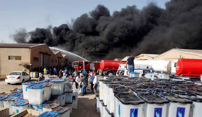 Irak'ta oy deposunda yangın!