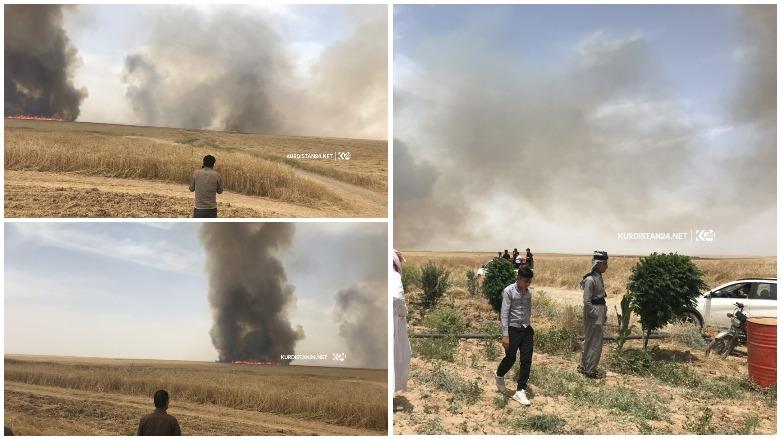 Kerkük'ün Pirde kasabasında Kürtlerin arazileri ateşe verildi