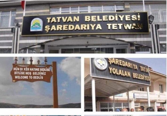 Kürtçe tabelanın kaldırılmasına sosyal medyadan #UyanBitlis etiketiyle tepki