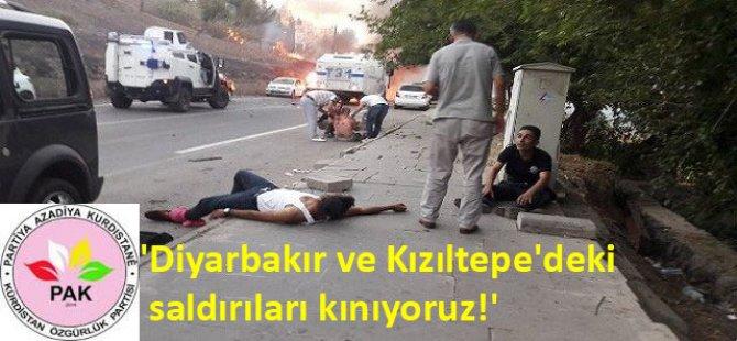 """PAK: """"Diyarbakır ve Kızıltepe'deki Saldırıları Kınıyoruz!"""""""