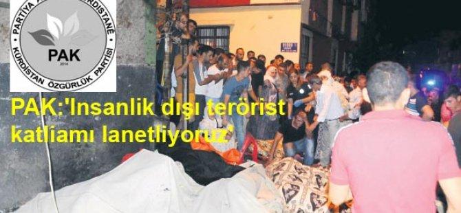 PAK: Gaziantep'teki insanlık dışı terörist katliamı lanetliyoruz