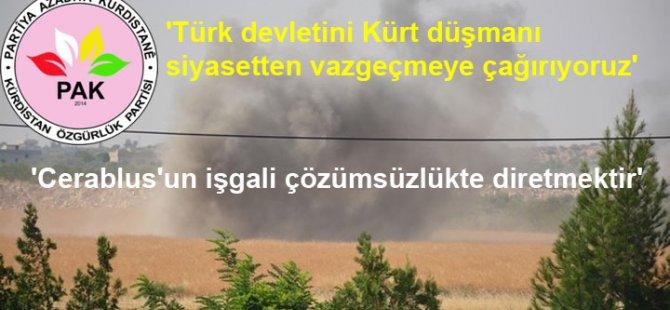 PAK: Türk Devleti'ni bu Kürt düşmanı siyasetten vazgeçmeye çağırıyoruz