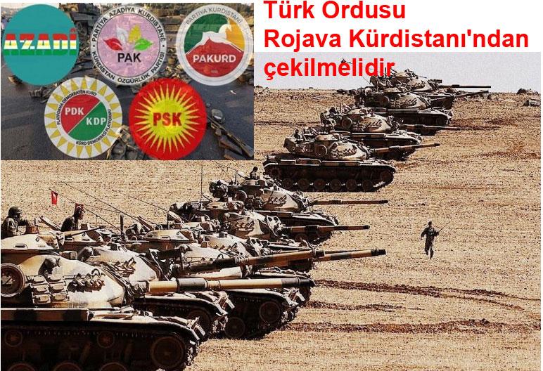 Türk Ordusu Rojava Kürdistanı'ndan çekilmelidir