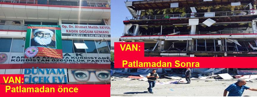 Van'daki patlamada PAK İl teşkilatı binası büyük hasar gördü
